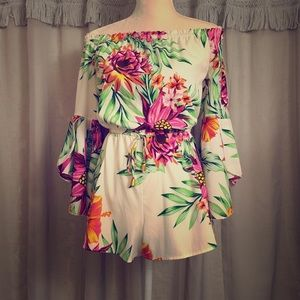 Tropical Floral Off the Shoulder Romper Small